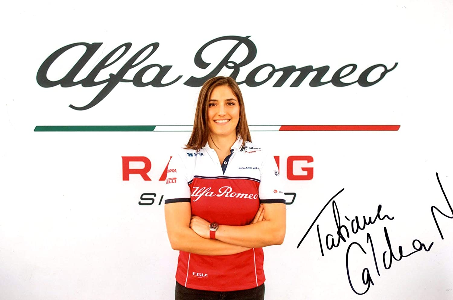F1 Tatiana Calderón TEST DRIVER ALFA ROMEO RACING 2019 autograph, IP signed photo