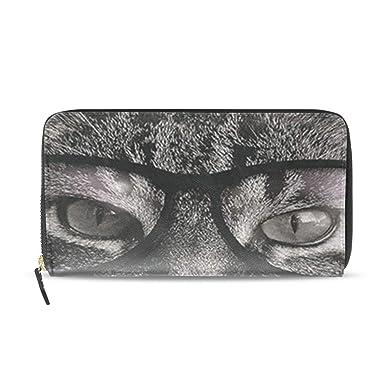 5b0b3f3b4beb Black Cat With Glasses Wallets Long PU Leather Zipper Clutch Ladies ...