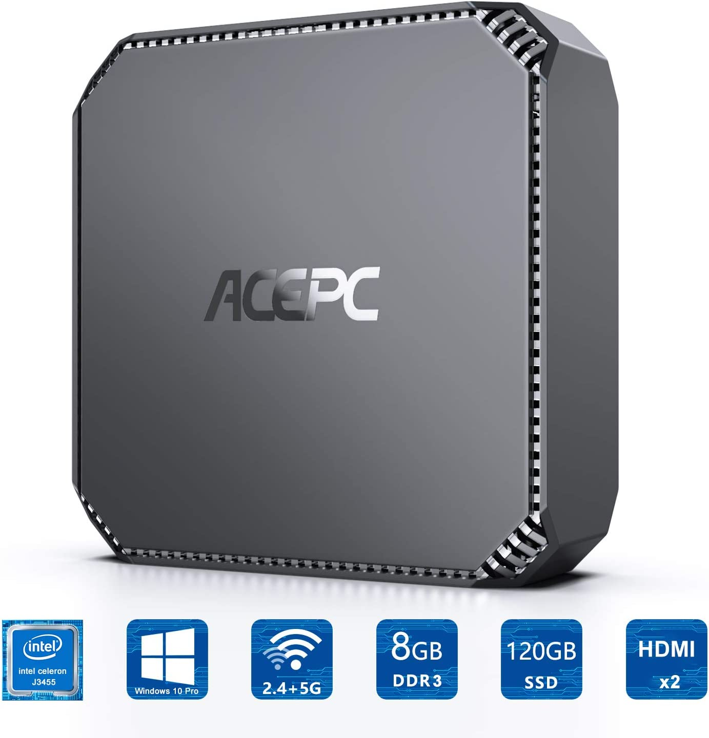 ACEPC AK2 Mini PC, Windows 10 Pro(64-bit) Intel Celeron J3455 Processor(up to 2.3GHz) Desktop Computer,8GB DDR3 120GB SSD,Dual Display at 4K HD,2.4G+5G Dual-Band WiFi,Gigabit Ethernet,BT 4.2
