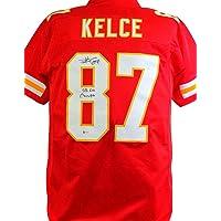 $255 » Travis Kelce Signed KC Chiefs Red Pro Style Jersey w/SBC- Beckett W Black