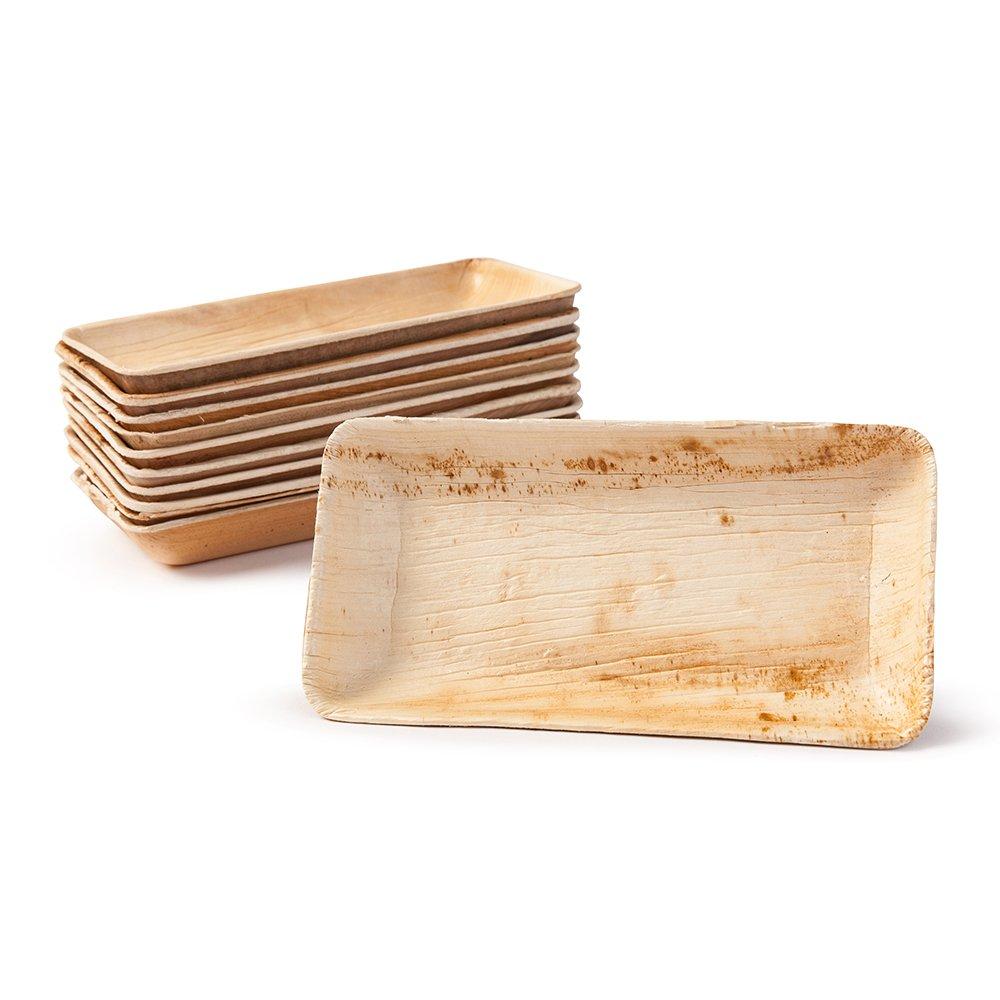 BIOZOYG 25x Palmleaf minibowl | 125ml, 13,5x8cm, rectangular | 100% biodegradable, compostable | individual, decorative grain | stabil & robust | for dips, buffet, fingerfood Bionatic