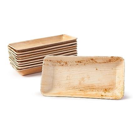 BIOZOYG Set Cuencos Snacks I 25 Piezas orgánicas Desechables Rectangulares 125ml, 13,5x8cm I Party vajilla compostable, Biodegradable I Hojas Palma ...