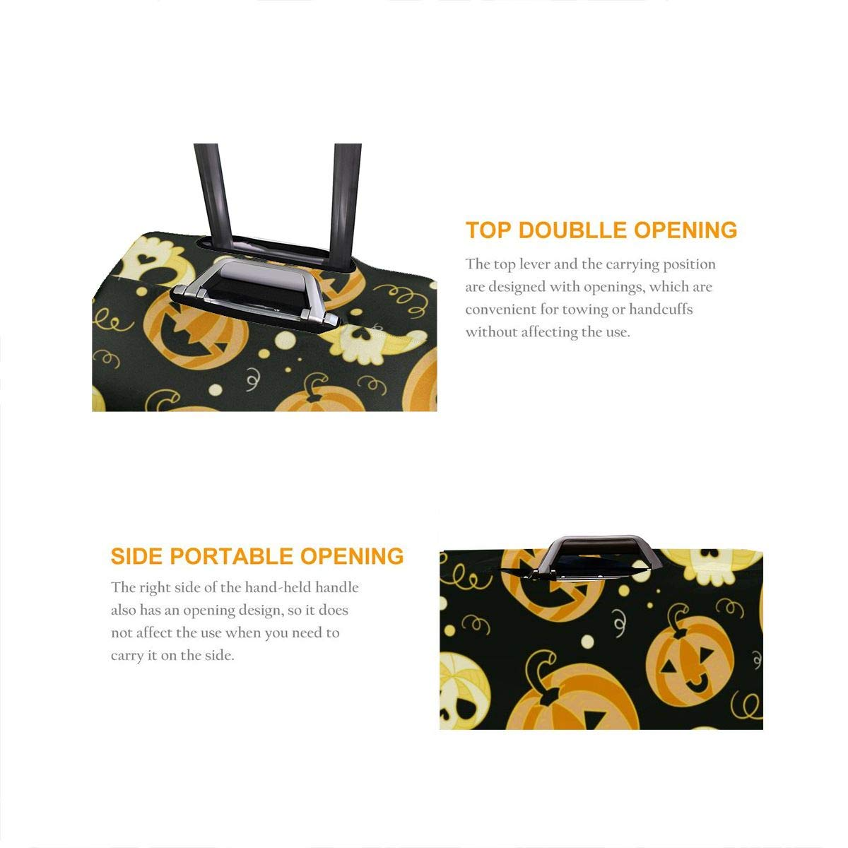 Travel Luggage Cover Halloween Funny Pumpkins Travel Luggage Cover Suitcase Protector Fits 26-28 Inch Washable Baggage Covers