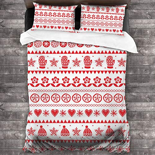 Eventsets Winter Folk Art Pattern Christmas Bedding Sets Duvet Quilt Cover Set with 2 Decorative Pillowcases, with Zipper Closure Ties, 3 Pieces