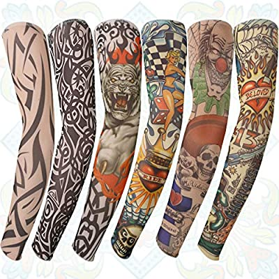 UK 1Pair Cool Mens Tatoo Sleeves Temporary Tattoos Sleeves Tattoo Arm Stockings
