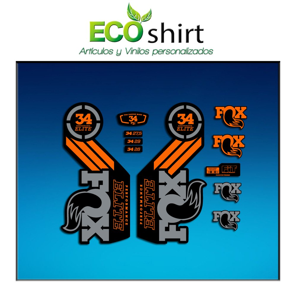 Ecoshirt EA-PACG-HHS2 Stickers Fork Fox 34 Performance Elite 2016 Am102 Autocollants Stickers Fourche Gabel Fourche Gris Orange