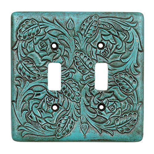 Turquoise Tooled Leather Southwestern Double Switch Plate - Rustic Decor by Black Forest Decor