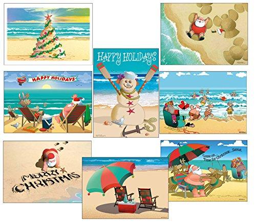 - Beach Christmas Card Variety Pack - 24 Cards & Envelopes - 8 Designs, 3 Cards Per Design - Assortment #1