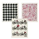 Wet-It Swedish Dishcloth Set of 3 (Bikes, Black Houndstooth, Red Paisley)