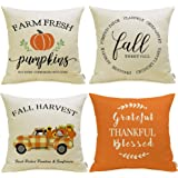 Meekio Fall Decorations for Home Set of 4 Fall Pillow Covers 18 x 18 Buffalo Check Truck Quote Cushion Covers for Fall…