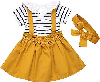 DaMohony 3 pezzi a maniche lunghe Vestiti per bambina con balze e bretelle