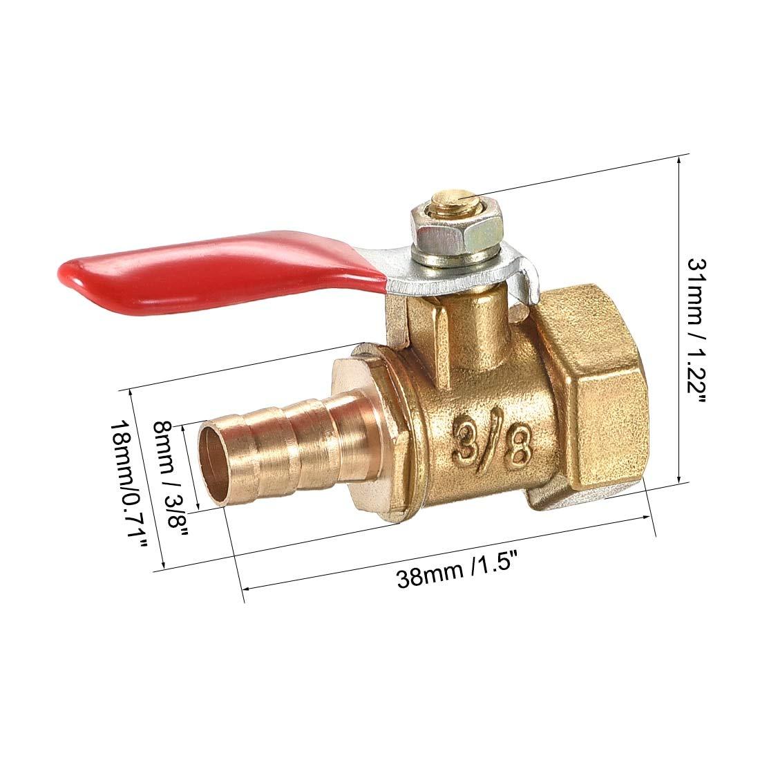 Brass Air Ball Valve Shut Off Switch G3//8 Female to 5//16 Hose Barb 4Pcs