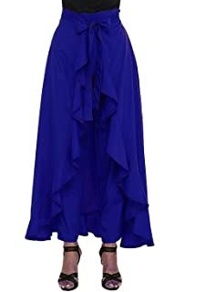 0d3a9474767d LAGOTTO Women's Ruffle Palazzo Skirt Maroon: Amazon.in: Clothing ...