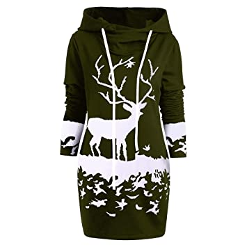 Swing Dress for Women Vintage Womens 2019 new Monochrome Reindeer Printed  Hooded Drawstring Mini Dress Green S  Amazon.ca  Baby a51e0b7adc96