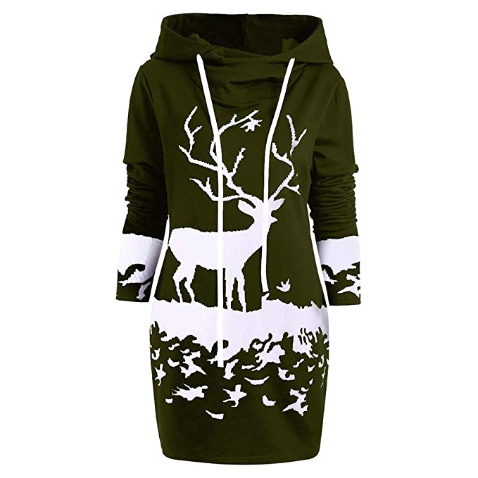 f65ac5854 ZYooh Ugly Christmas Dress Monochrome Reindeer Printed Hooded Drawstring  Mini Dress (Army Green, S