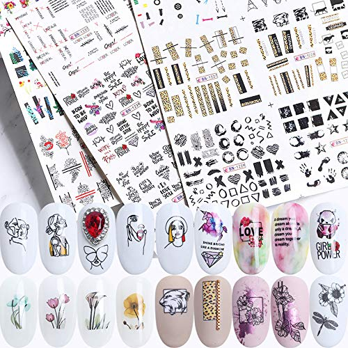 - PINCHUANG 36Pcs Abstract Theme Nail Decals for Women, Abstract Element Nail Art Water Transfer Stickers, Sexy Nail Water Slide Decals Transfer, DIY Nail Art Decorations Accessories for Girl and Women