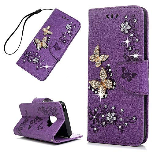 Galaxy S9 Case,3D Relief Bling Crystal Rhinestone Flower Butterfly Embossed PU Leather Wallet Case TPU Inner Bumper Credit Card Holders Hand Strap Protective Cover for Samsung Galaxy S9, Purple