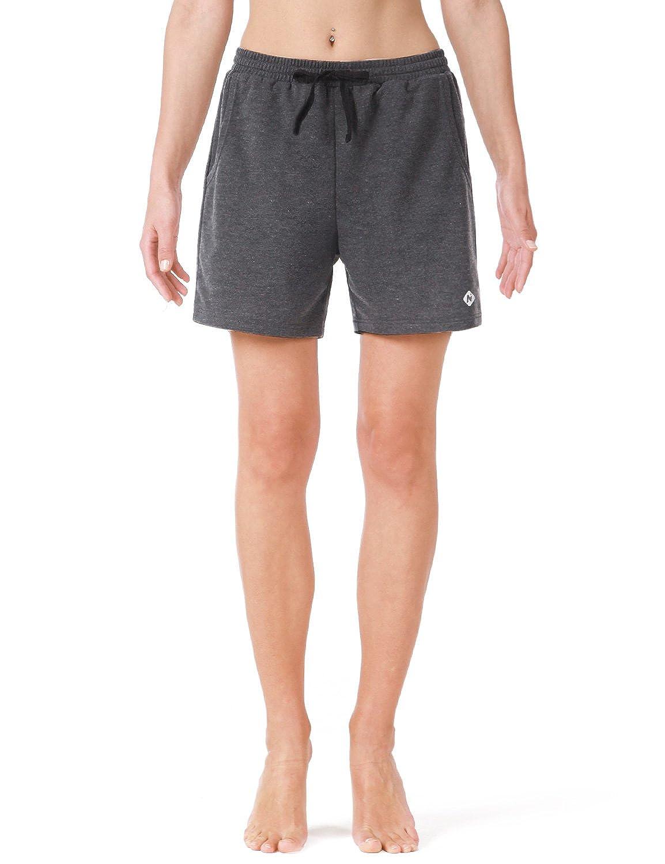Naviskin Womens Active Fitness Yoga Shorts Bermuda Shorts with Big Pockets