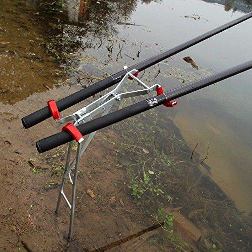 WSERE Support pour Canne /à P/êche en Acier Inoxydable R/églable /à Double Poteau Pliable Sensible Portable Accessoire Sport Loisir Fishing Rod Holder pour P/êche