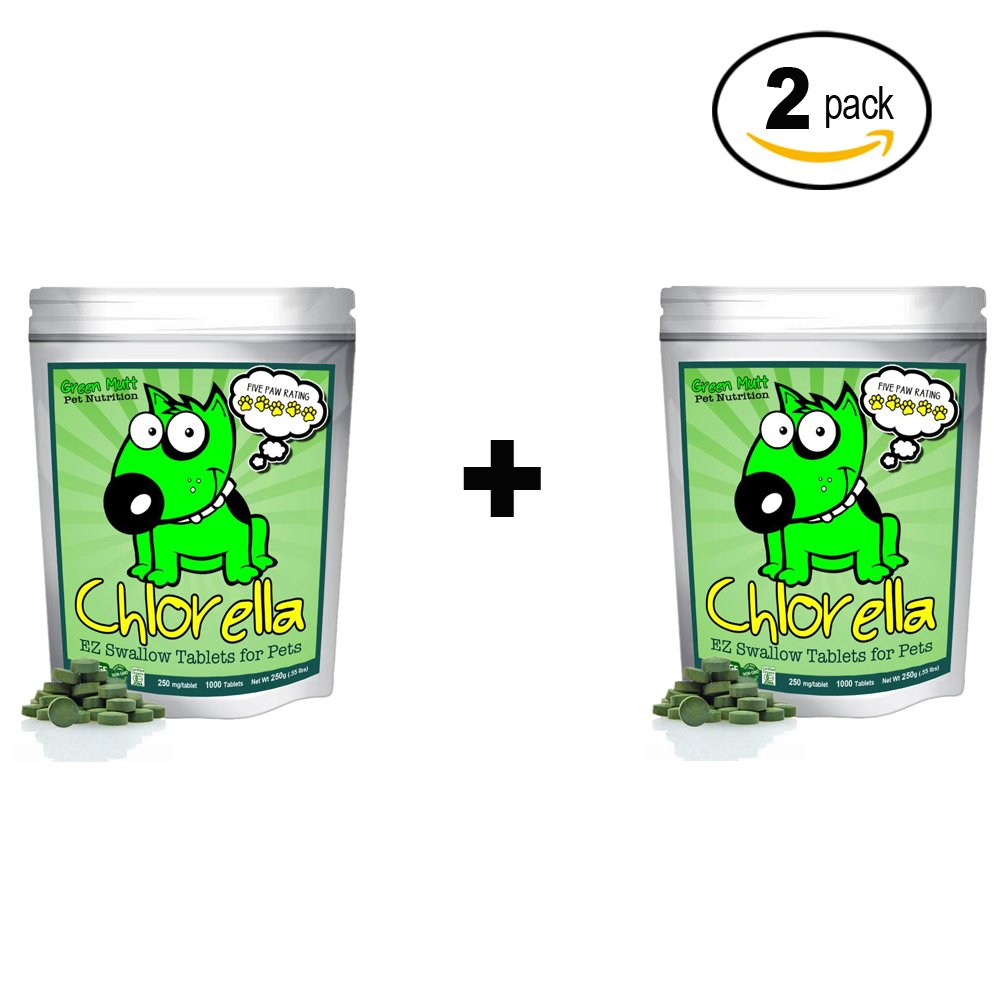 Organic Chlorella Raw Dog Food, Whole Food Topper and Natural Pet Supplement Snack. Treat your four-legged friend to the best canine nutrition. 100% Pure Chlorella. Mega-Pack. (2 Pack)