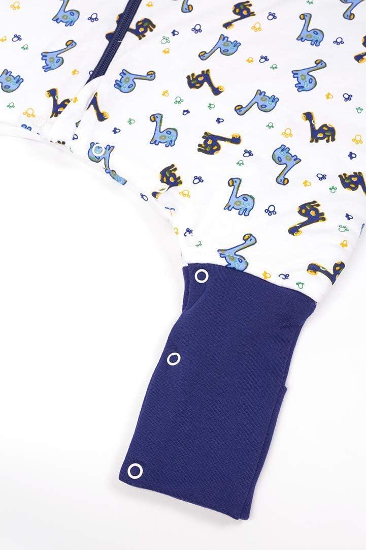 3,5 Tog Slumbersac con maniche rimovibili vari motivi dinosauro 3-4 anni Sacco nanna invernale con piedini