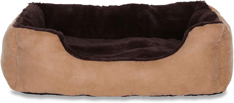 dibea Cama perros cojín perros cesta perros con cojín tamaño (M) 60x48 cm marrón/beige