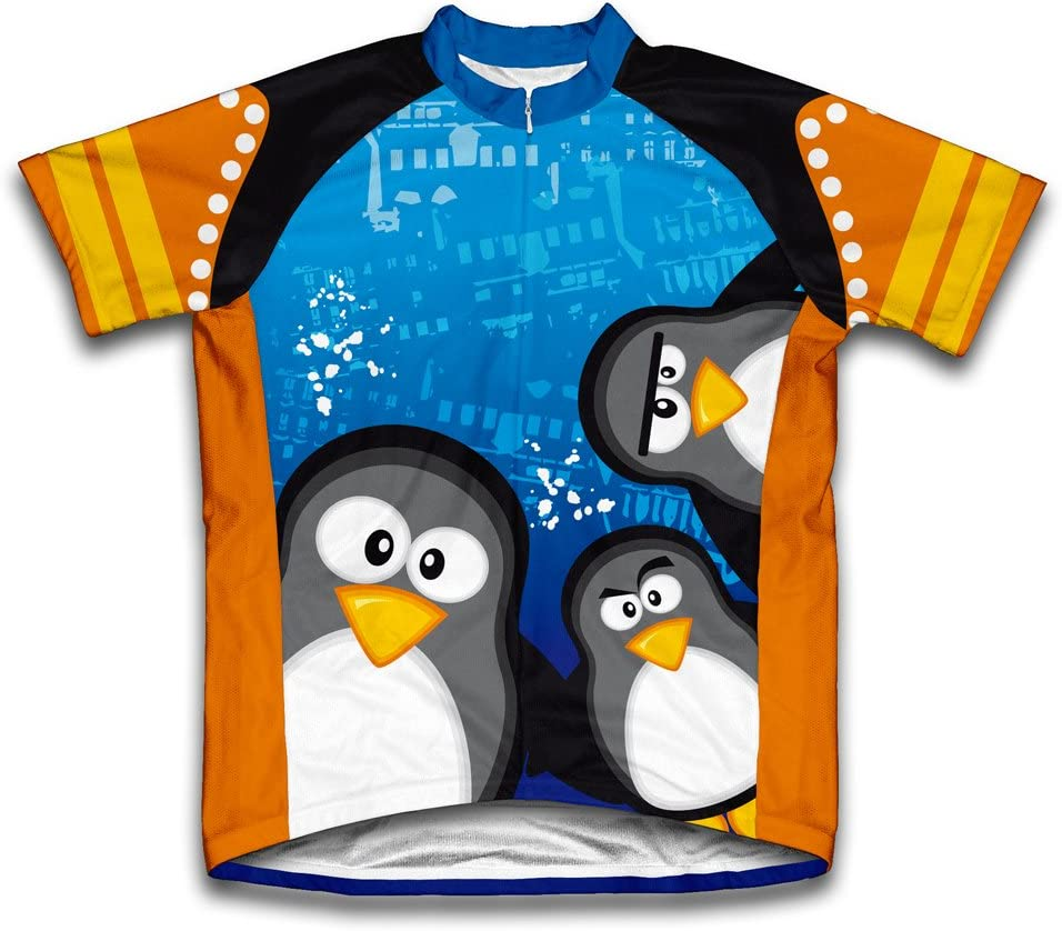 ScudoPro Curious Penguins Short Sleeve Cycling Jersey for Youth