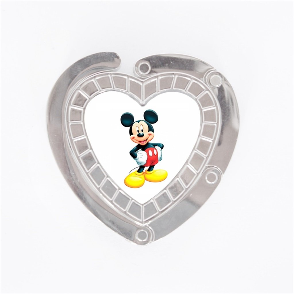 Here There Portable Fashion Personality Imagenes Mickey Mouse Characters Pattern Design Women Ladies heart Foldable Handbag Purse Hook Hanger Bag Holder