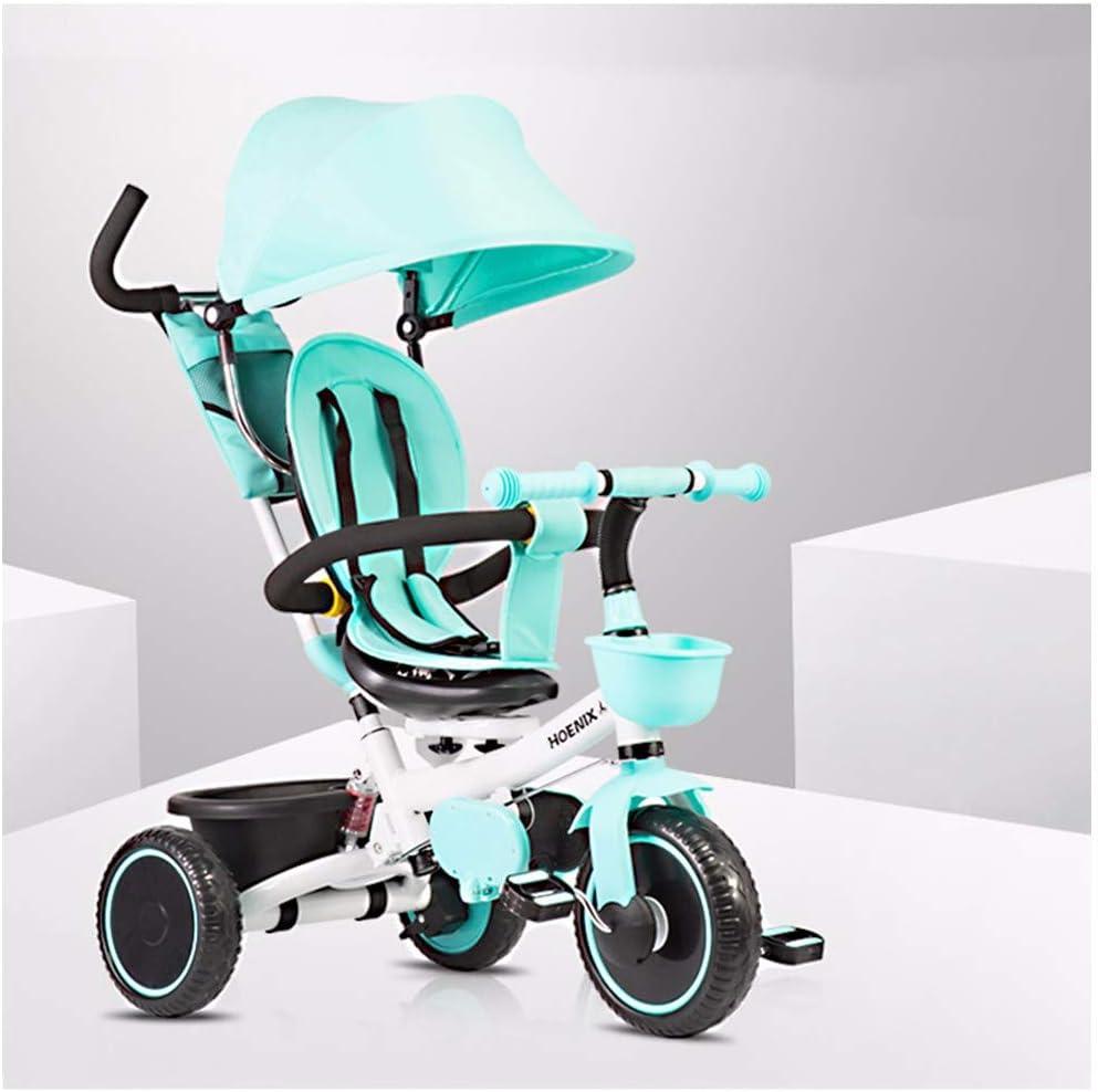 JYY Triciclo Infantil 4 en 1 Empuje a lo Largo del Pedal Triciclo para niños con Mango para Padres/Dosel Desmontable/Cesta Grande para niños pequeños,Blue-1