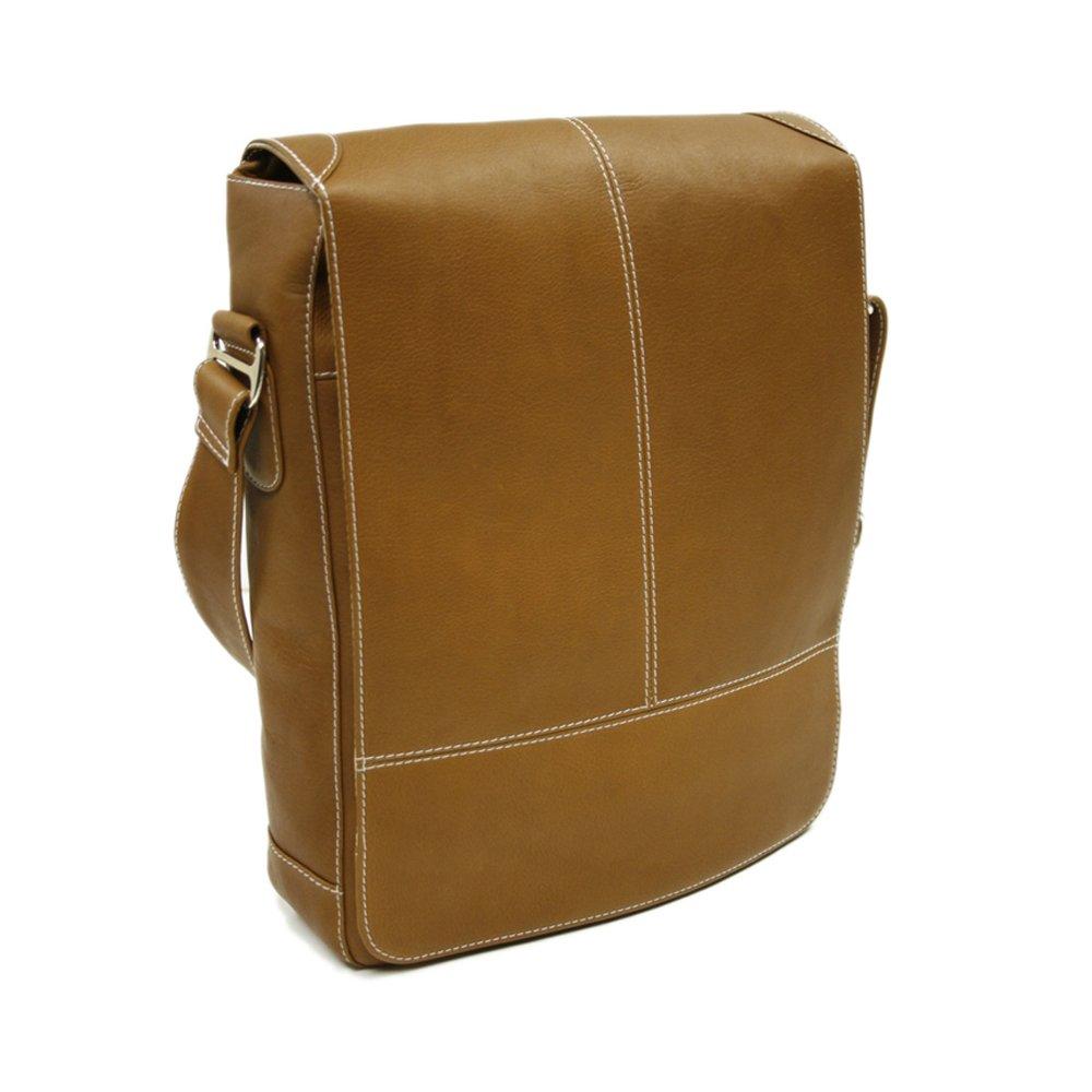 Piel Leather Urban Vertical Messenger Bag, Saddle, One Size