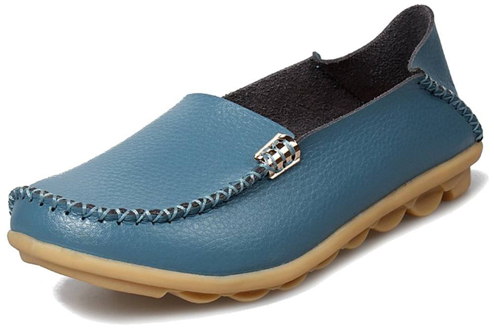 Fangsto Womens Cowhide Casual Slipper Loafers Moccasin Driving Shoes Flat Slip-Ons US Size 6 Light Blue