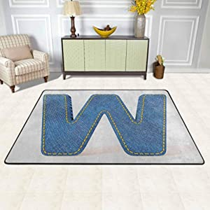 Letter W Area Rugs Large Carpet Symmetrical Latin Letter Capital W with Blue Jean Pattern Typography Design Print Outdoor Rug Blue Yellow for Living Dining Dorm Playing Room Bedroom 4'x5'