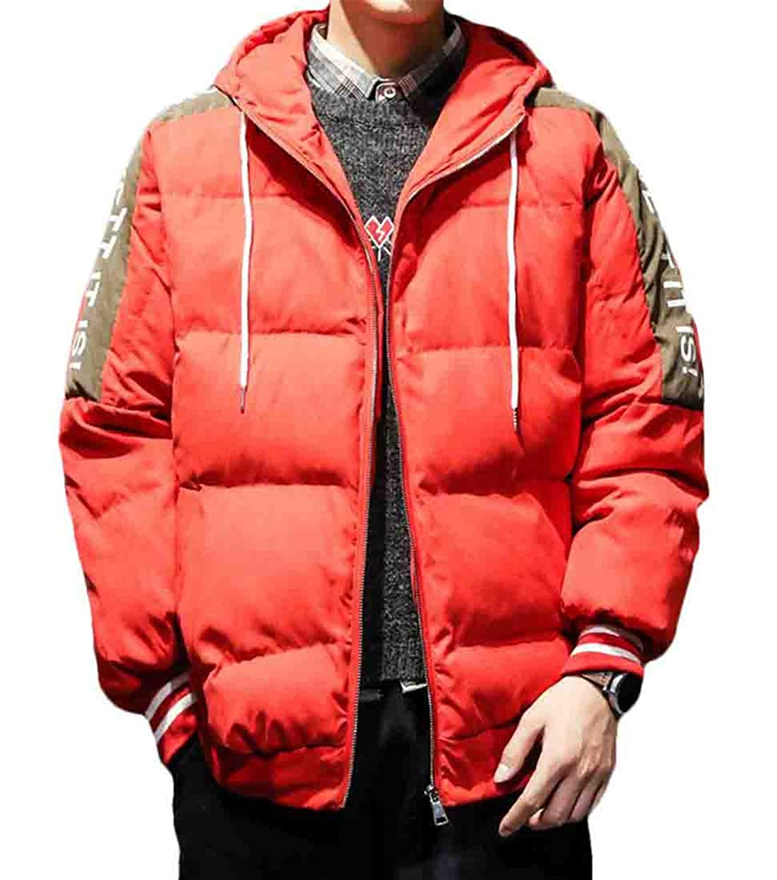 Gnao Men Hooded Thicken Stylish Color Block Cotton Drawstring Letters Print Down Jacket