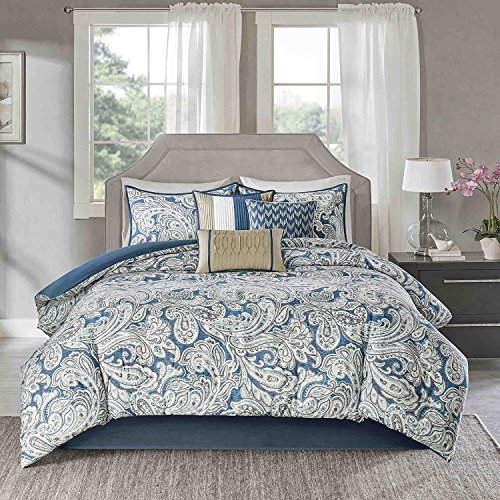 7pc Girls Blue Paisley Floral Pattern Comforter Queen Set, Vibrant Colors, Rich Bohemian Hippie Indie, Elegant Scrollwork Motif Flowes Theme Bedding, French Country Design by D&D