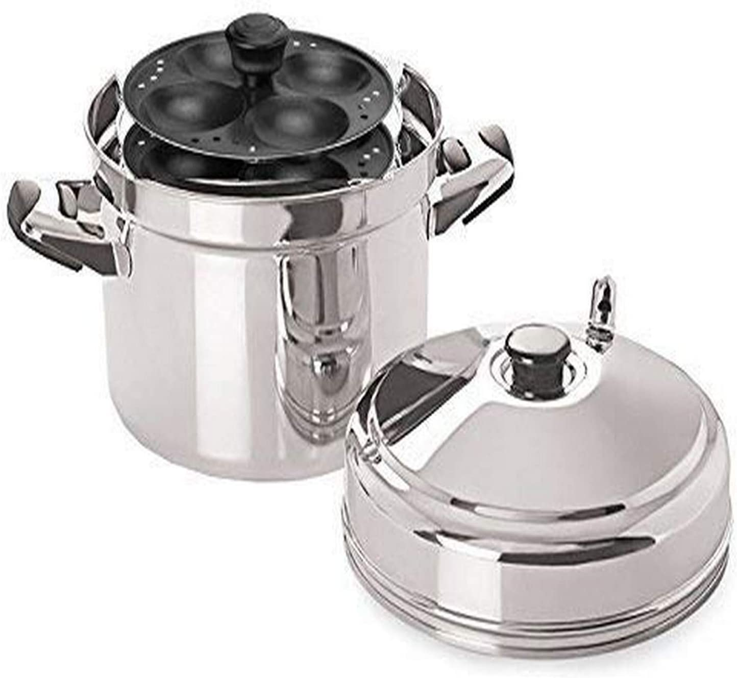 Tabakh Stainless Steel Cooker with Non-Stick 4-Rack Idly Stand, Makes 20, Silver