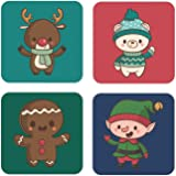 Yaya Cafe™ Christmas Gifts Gingerbread Reindeer Xmas Wooden Printed Table Coasters for Dining Table - Set of 4