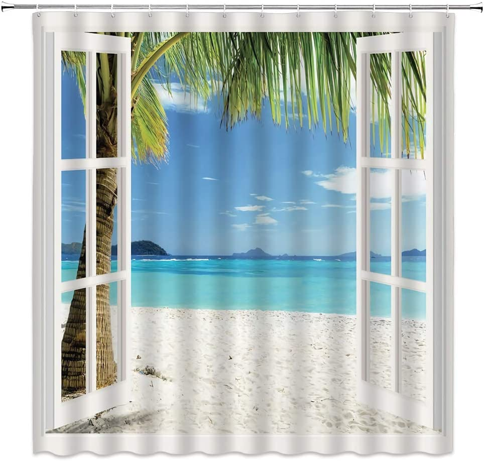 WZFashion Beach Scene Shower Curtain Ocean Hawaiian Tropical Palm Trees on Island Turquoise Traveling Blue View Through White Wooden Windows Polyester Fabric Bathroom Curtains Set with Hook