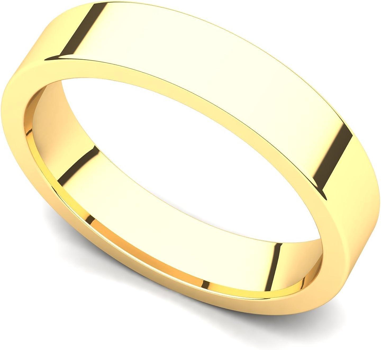 18k Yellow Gold 4mm Classic Plain Flat Wedding Band Ring