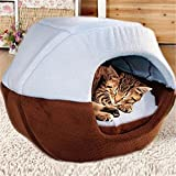 FFMODE Cozy Pet Dog Cat Cave Mongolian Yurt Shaped House Bed with Removable Cushion inside, 50X40X44cm, Blue&Coffee