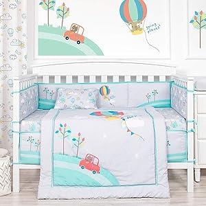 Blossom Aster Baby Bedding Set Nursery Bedding Set for Newborn, Infants and Kids – 4PCS Crib Set Nursery Bedding Set – Hot Air Balloon Baby Set