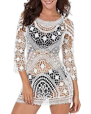 Funnygirl Womens Summer Beach Wear Cover up Swimwear Bikini Lace Floral Crochet Beach Dress