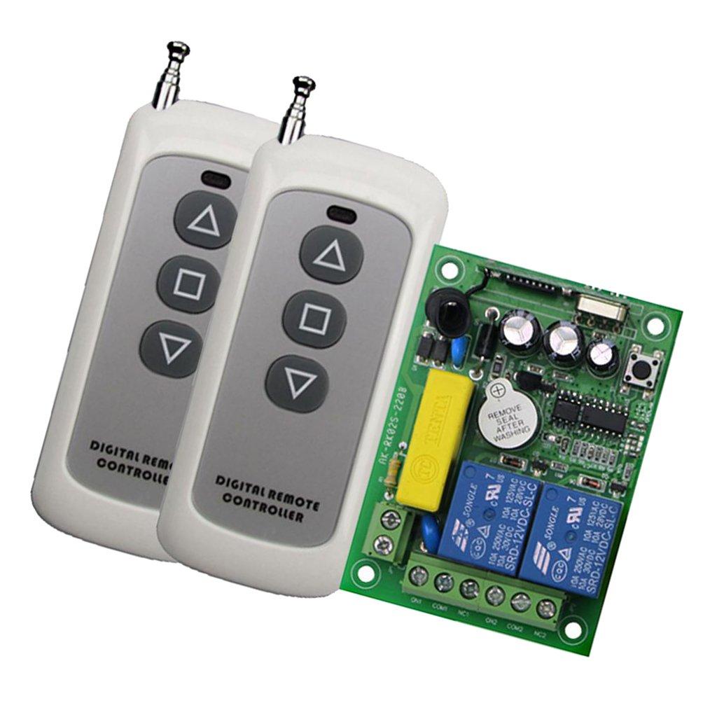 AC 220V RF Wireless Relay Remote Control Switch Receiver 2 Transmitters 433MHz