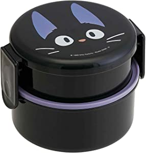 Kiki's Delivery Service 2 Tier Round Bento Lunch Box with Folk (17oz) - Authentic Japanese Design - Microwave Safe - Black