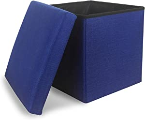 Storage Ottoman Cube Folding Ottomans with Storage Foot Rest Stool Seat Foldable Storage Ottoman Square Toy Chest Padded with Memory Foam Lid Sofa for Space Saving 11.8x11.8x11.8 inch, Navy