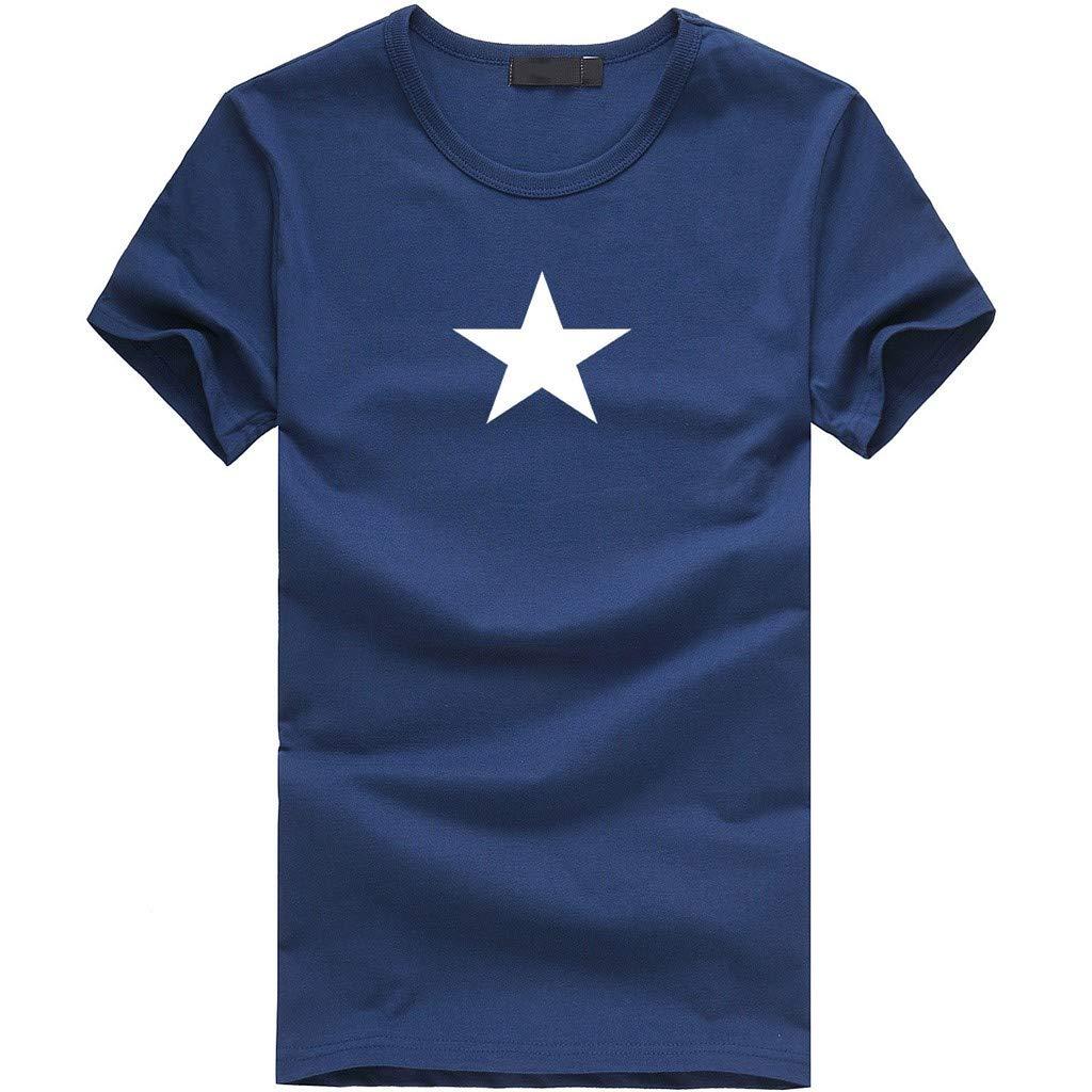 Fxbar Men's Fashion Summer Star Print Tee Tops Slim O-Neck Sport T Shirt Boy Shirt(Navy,M)