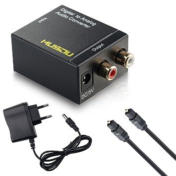 musou Audio Convertidor de Digital (Toslink y coaxial) a analógica (RCA) –