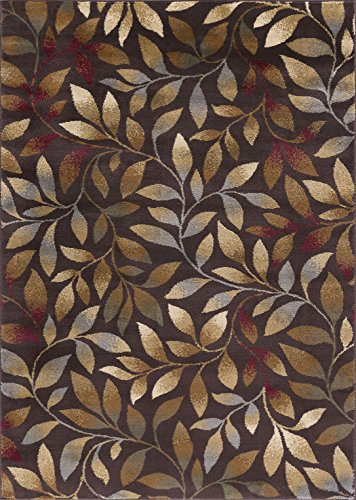 Brown Transitional Area Rug (Katniss Transitional Floral Brown Rectangle Area Rug, 5' x 7')