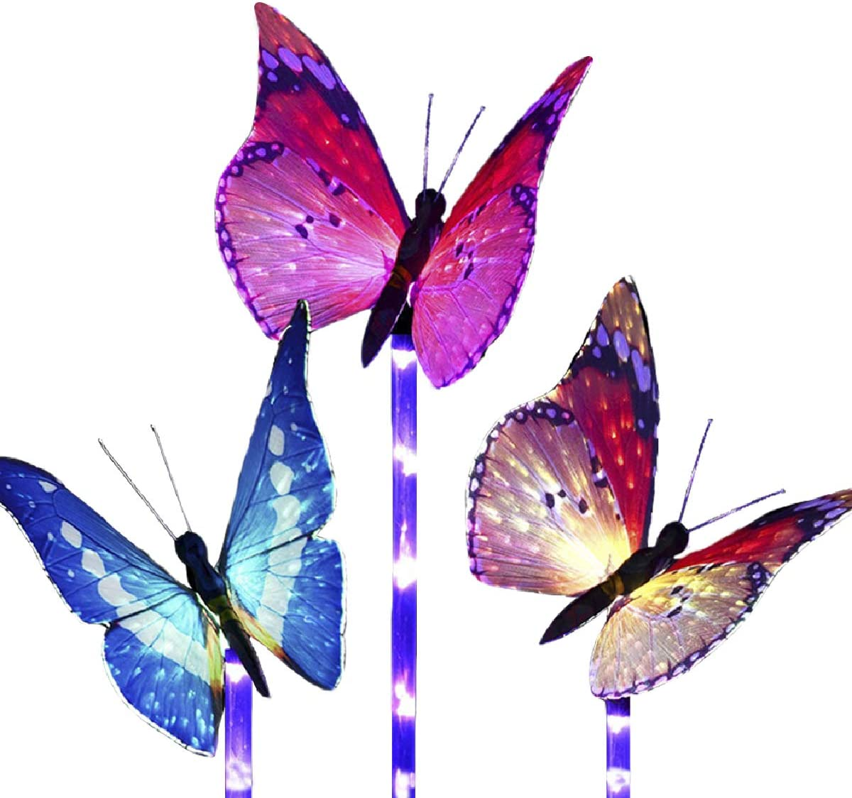 Solar Butterfly Lights Outdoor Garden - Waterproof Light Sensor Wireless Purple LED 3 Pcs Stake Fiber Optic Decorative Multi-Color Changing Lighting Yard Pathway Patio Lawn Walkway Landscape MILKYCREW