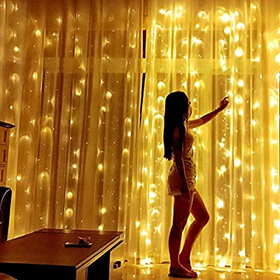 DLPIN UL Safe 304 DM-300LWW/12 LED 9.8FT Linkable Curtain Icicle Fairy String Lights with 8 Modes, Warm White