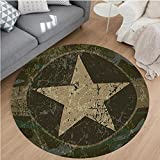 Cheap Nalahome Modern Flannel Microfiber Non-Slip Machine Washable Round Area Rug-Dusty Dirty Design with a Star in Circle Undercover War Theme Army Green Beige Dark Brown Area Rugs Home Decor-Round 36″